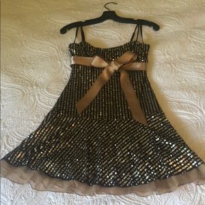 Sexy sequin dress with satin ribbon detail